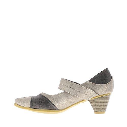 Escarpins confortables silver à talons 5.5cm bouts pointus avec bride