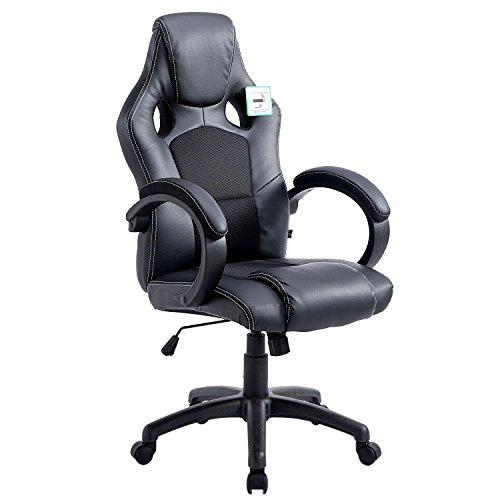 41u7FUY otL - Cherry Tree Furniture Sport Racing Gaming PU Leather & Fabric Swivel Office Chair