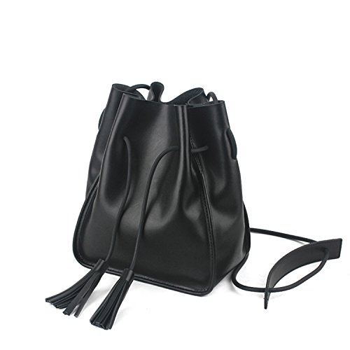 Womens Vintage Leather Drawstring Bucket Bags Black Tassel Crossbody Bag