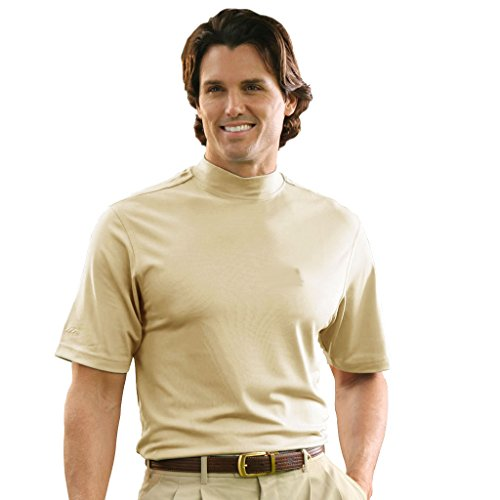 [Monterey Club Mens Dry Swing Classic Pique Mock Neck Shirt #1172 (Stone, X-Large)] (Pictured Stone)