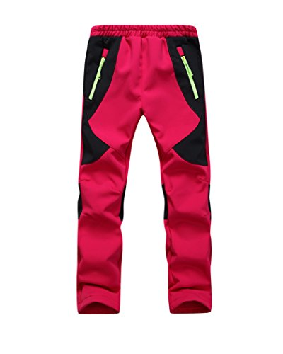 Youth Snow Pants with Reinforced Knees and Seat,Warm Climbing Trousers For Boys and Girls (XL, Red)