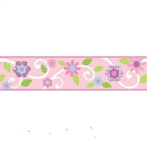 7' Beaded Border (15' flower , PINK FLORAL SCROLL WALLPAPER BORDER self stick wall)