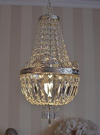 Kristall Lüster Kronleuchter Korblüster Deckenlampe vintage Messing Shabby Chic Żyrandole i kandelabry wiszące