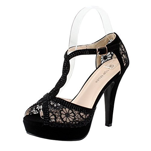 Jjf Shoes Hy-5 Open Toe Crochet High Heel Sandals Black Lace, Size 8.5 (Zapatos De Moda)