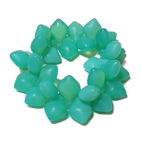 30 Czech Glass Spade (11x8mm) Aqua Green Opaline Matte. Jewelry Making, Beading. Great for Kumihimo