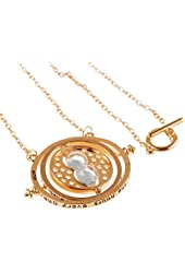"""Harry Potter Gold Necklace Hermione Spins Hourglass Pendants Chain: 24"""" Pendant: 2.25"""" x 1.75"""""""