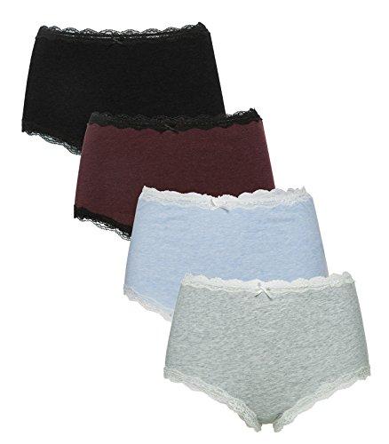 ALove Women Panties Underwear Cotton Full Briefs High Waist4 Pack Medium