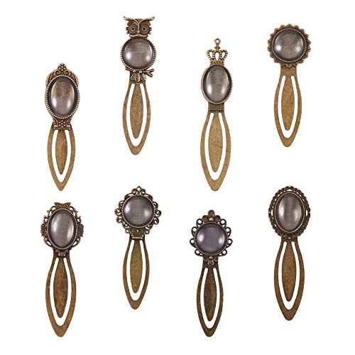 PH PandaHall 16 Sets - 16pcs 8 Styles Antique Bronze Alloy Bookmark Pendant Tray Bezels with 16pcs Clear Glass Cabochon Dome Tiles for DIY Bookmark Making (Owl, Crown, Flower)