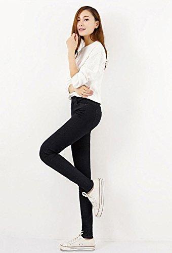 Jeans Alta Mezclilla Verano Casual Vaqueros Elástico Leggings Cintura Moda Ripped Negro Minetom Pantalones Mujer Flacos q5wCBMFR