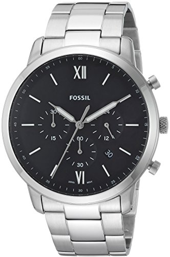 Fossil Men's Neutra Chrono Quartz Watch with Stainless-Steel Strap, Silver, 22 (Model: FS5384)