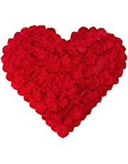 1000 Pieces No-Taste PA Rose Petals Wedding Artificial Roses Fake Roses Petals (Red)