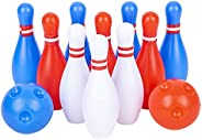 SRENTA Kids 4.25 inches Bowling Set Includes 10 Pins 2 Balls Plastic Ball Indoor Sport Games, Educational Toys