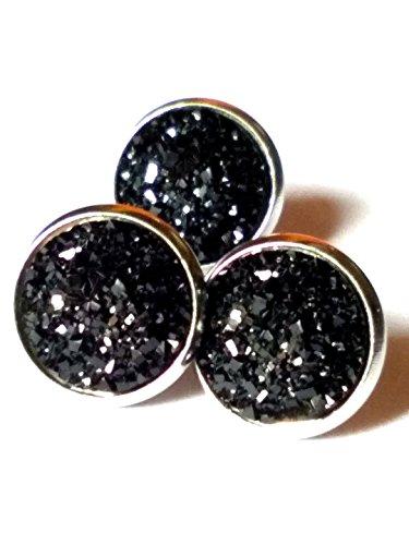 Black Agate Dome Ring - 20pairs lot 12mm stainless steel Agate Druzy Geode Stud Earrings (Black)
