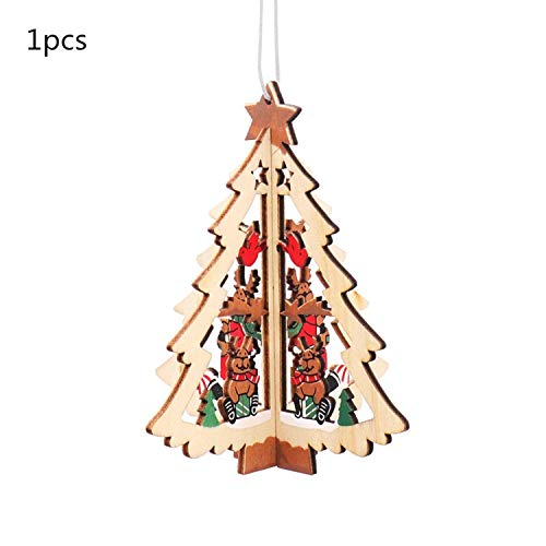 JEWH Christmas Wooden Pendants - DIY Wood Crafts Star&Heart - Xmas Tree Hanging Ornaments - Christmas Party for Kids - Gift Home Decorations (Stretch 9)