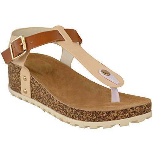 Fashion Thirsty New Ladies Womens Wedge Comfort Sandals Cushioned Flip Flops Footbed Shoes Size Nude Faux Leather Ay6SdM