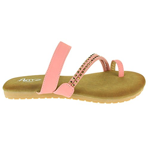 Mujer Señoras Dedo del pie Strappy Verano playa Casual Fiesta Punta abierta Comodidad Plano Sandalias Zapatos Tamaño Rosa