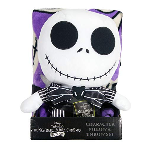 Nightmare Before Christmas Plush Toy and Blanket Bundle with Gift Tag, Jack Skellington Stuffed Plush Doll Toy and Throw Blanket, Character Pillow, Halloween Toy Decorations, Ideas, HOL