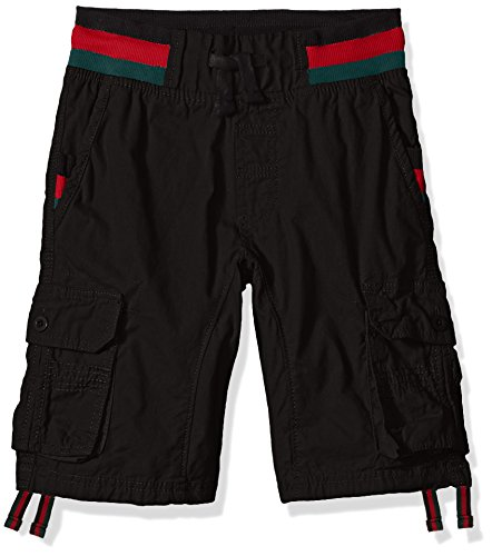 Southpole Boys' Big Twill Cargo Jogger Shorts in Basic Solid Colors, Black Stripe, Medium - Boys Carpenter Shorts