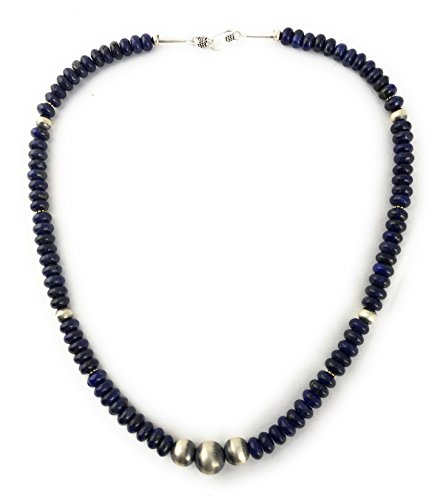 Masha Storewide Sale ! Sterling Silver Necklace By Lapis, Saucer Beads, Made in USA - Exclusive Southwestern Handmade Jewelry, 20'' in Length Gift by Masha