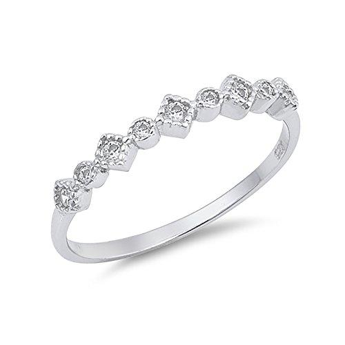 Bezel Band Half Eternity (Half Eternity Bezel Set Wedding Band Ring Round Shape Cubic Zirconia 925 Sterling Silver)