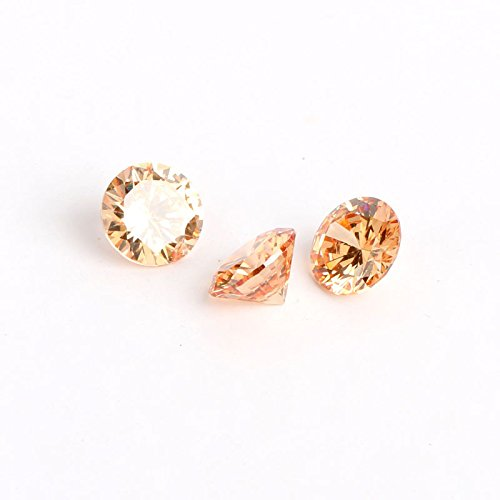 Zirconia Stone Champagne Color Cubic (Linsoir Beads 50 pcs 8mm Cubic Zircon Loose Round Cubic Zirconia Top AAA Brilliant Cut Faceted Synthetic CZ Gemstone No Holes For DIY Jewelry Making)