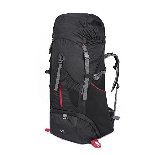 OutdoorMaster Hiking Backpack 60L - Internal Frame w/ Waterproof Rain Cover for Hiking, Travel, Camping (Black-Red) (35 Internal Frame Pack)