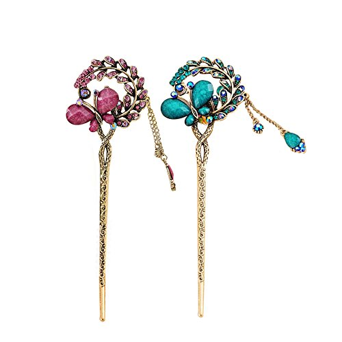 (Pack of 2 Rhinestone Hair Stick Vintage Hair Chopsticks Hairpin Chignon Pin,  3D Butterfly Leaves Add Pendant, Decor with Pretty Stone (Blue and)