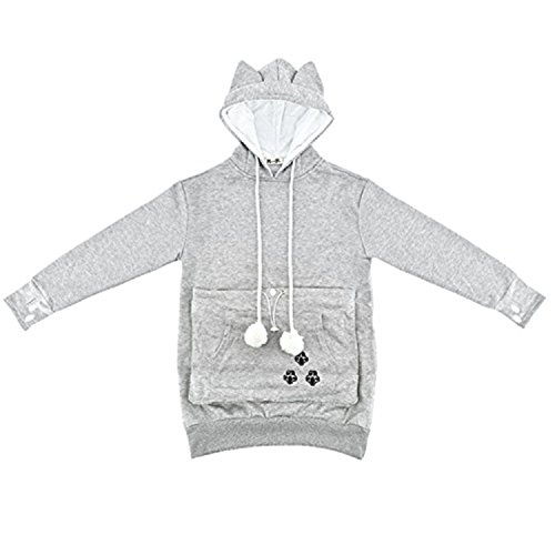 NeuFashion Hoodies Pet Holder Cat Dog Kangaroo Pouch Carriers Pullover Sweater, Grey, X-Larage