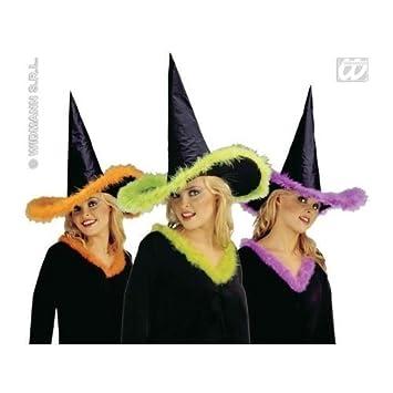 Sombrero de bruja negro con cinta MARABU LILA  Amazon.es  Juguetes y juegos 76991531ea6