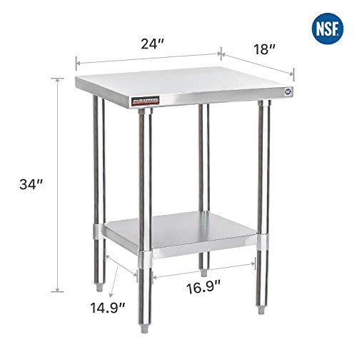 Ztopia Restaurant Grade 2 x 2 FT Stainless Steel Work Table 24 x 24 Inch for Commercial Kitchen Prep Work Table with Lower Shelf Work Silvery Table 24 X 24 Inch