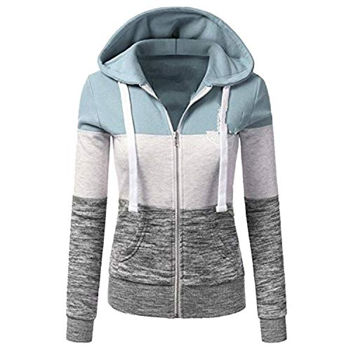 - colorful-space Sweatshirts Long Sleeve Hoody Zipper Pocket Patchwork Hooded Woman Baseball Jacket Z33,Light Green 3,M