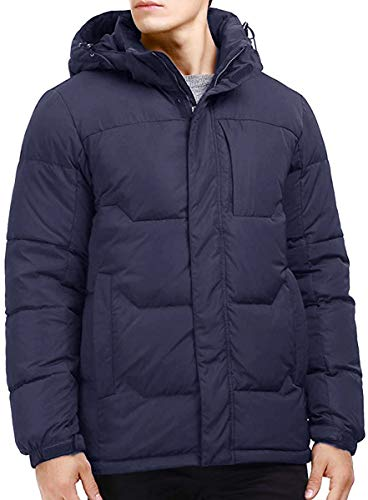 Puredown Men's Outdoor Goose Down Puffer Hooded Jacket, Navy, Medium ()