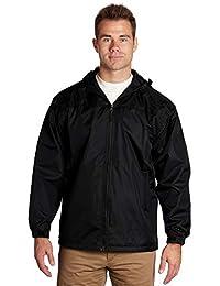 Men's Windbreaker - Lined Hooded Pockets Full Zip - Black, Large - éb79