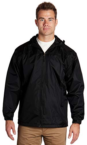 Wholesale Unisex Polyester Hooded Lined Windbreaker Jackets - Black, ()