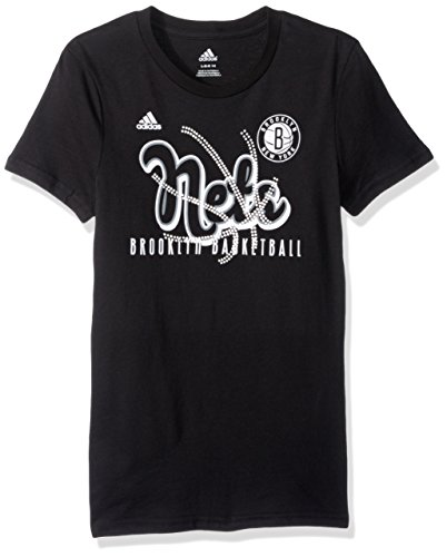 fan products of NBA Girls 7-16 Brooklyn Nets Middle Basketball Short Sleeve Tee-Black-L(14)