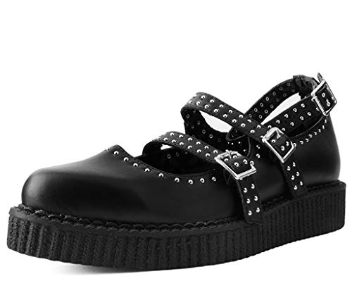 Studded Buckle Strap Creeper Shoe - T.U.K. Shoes A9509L Womens Creepers, Black TUKskin Studded Pointed Ballet Creeper - US: Womens 8 / Black/Synthetic