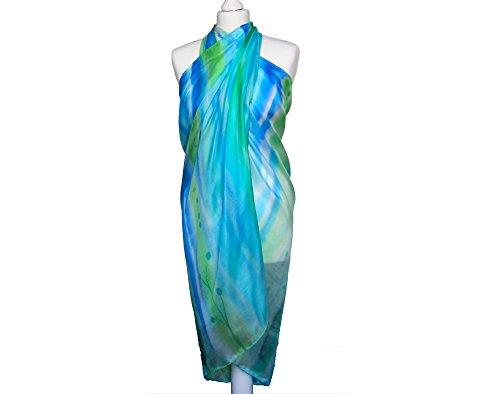 Beach silk wrap - Womens beach scarf - Womens silk scarf - Blue beach scarf - Seaside scarf - Blue silk shawl - Womens long scarf by Burbule Silk