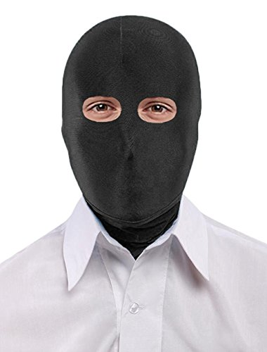 Seeksmile Unisex Lycra Spandex Full Cover Zentai Hood Mask (Adult Size, Black Open-Eyes)