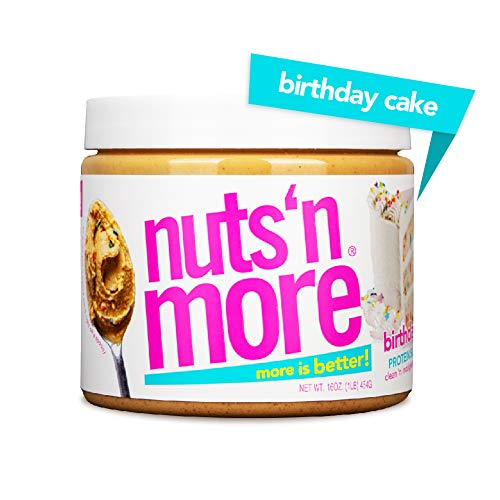 Nuts N More Birthday Cake Peanut Spread, High Protein Nut Butter Snack, Low Carb, Low Sugar, Gluten-Free, All Natural Sports Nutrition, 16 oz Jar