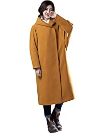 Zoulee Women's Wool Cashmere Coat Double-sided Woolen Long Coat Yellow