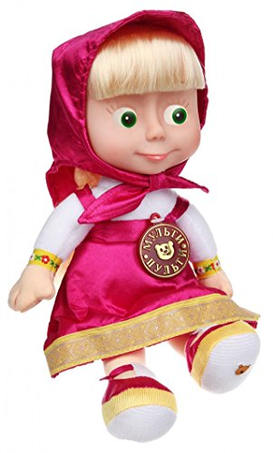 Doll Masha Soft Toy 11-inch Speaks English 7 Phrases and 1 Song, Perky Heroine Masha and the Bear Masha y el Oso from Masha and the Bear