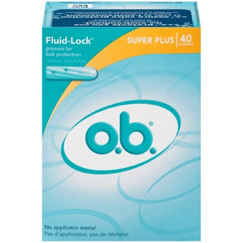 O.b. Super Plus Fluid Lock Tampons - 40ct, White (Pack of 24)