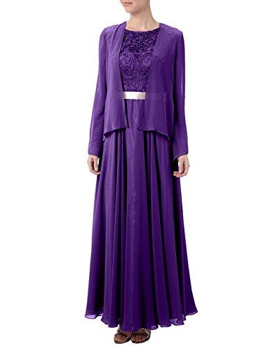 Abendkleider Lila Brautmutterkleider Braut Festlichkleider Jaket Langarm Chiffon mit Ballkleider mia Glamour La Spitze xIAqY75F
