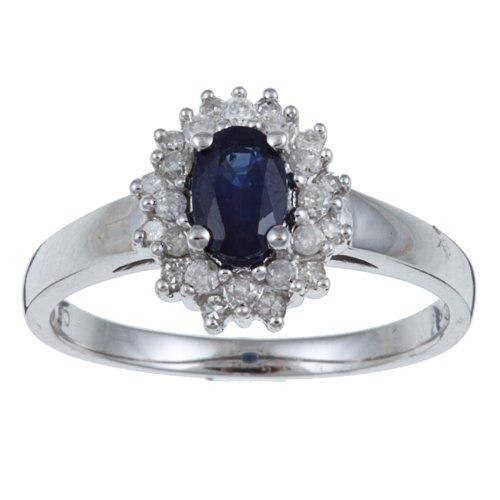 Weißgold ring mit saphir  10k Weißgold Echt Blauer Saphir und Diamant Ring (1/4 cts): Amazon ...