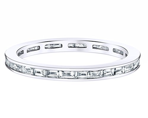 ut White Cubic Zirconia Eternity Band Ring in 18K Gold Over Sterling Silver ()