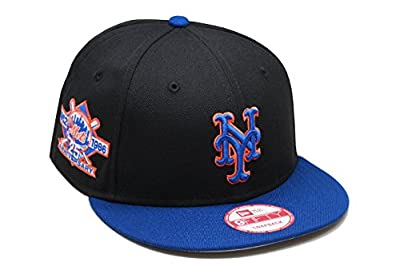 New Era 9fifty New York Mets Snapback Hat Cap MLB Black/Royal/25th Anniversary