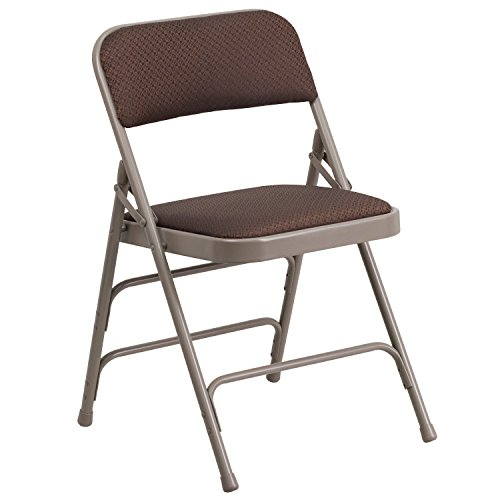 Flash Furniture HERCULES Series Curved Triple Braced & Double Hinged Brown Patterned Fabric Metal Folding Chair by Flash Furniture