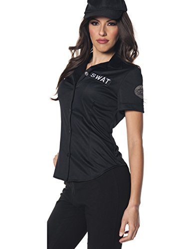 Underwraps Women's Swat Fitted Shirt, Black, (Womens Police Shirt Adult Costumes)