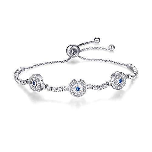 (ASHMITA Fashion Evil Eye Bracelets for Women Girls Silver Chain Cubic Zirconia Bracelet Adjustable)