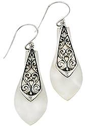 Mother of Pearl Earrings Balinese Filigree Sterling Silver Bali Asian